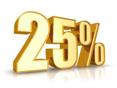 twenty five: Oro veinte cinco por ciento, aislado sobre fondo blanco. 25 %