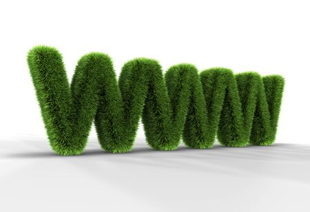 Grass letters WWW isolated on white background, 3D rendering Stock Photo - 8522567