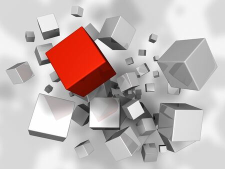 White cubes explosion, one red, 3d render photo