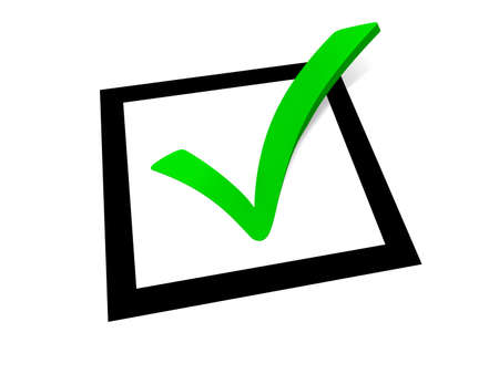 white check mark sign: Green check mark outgoing from a black square