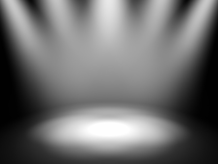 night spot: Empty theater stage with spot lights, 3d render