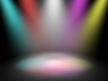 light show: Empty theater stage with spot disco lights, 3d render Stock Photo