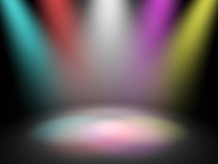 etapas de vida: Procesamiento de escenario de teatro vac�o con focos de discoteca, 3d