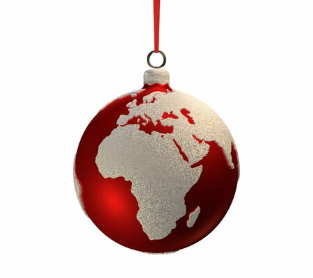 Christmas red bulb decorated with the shape of continents, Europe and Africa, 3d render