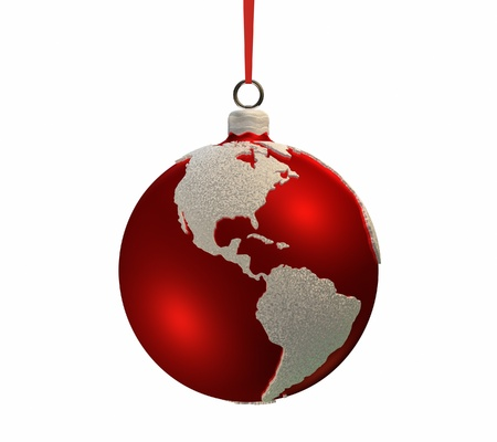 americas: Christmas red bulb decorated with the shape of continents, Americas, 3d render Stock Photo