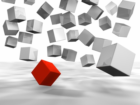 Few white cubes falling down, one of them is red photo