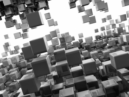 Flying over a crowd of reflective cubes, 3d render Stock Photo