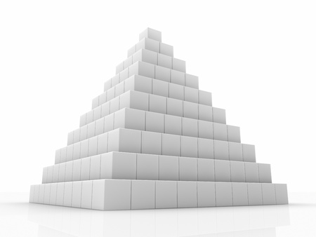 Pyramid made of small cubes, 3d abstract render