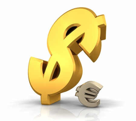 transcend: Large gold dollar sign leaning over a small euro sign