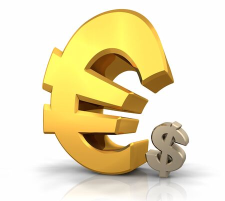superiority: Large gold euro sign leaning over a small dollar sign
