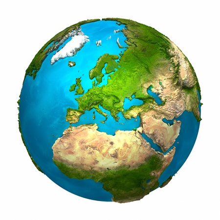 green earth: Planet Earth - Europe - colorful globe with detailed and realistic surface, 3d render Stock Photo
