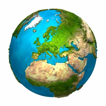 planeta verde: Planeta Tierra - Europa - globo colorido con superficie detallada y realista, procesamiento 3d Foto de archivo