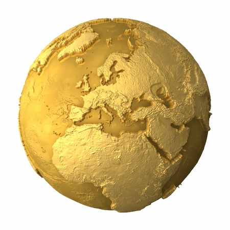 Gold globe - metal earth with realistic topography - europe, 3d render photo
