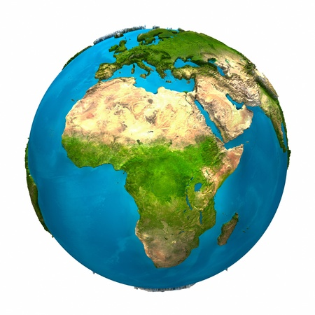 Planet Earth - Africa - colorful globe with detailed and realistic surface, 3d render