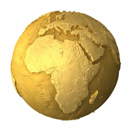 Gold globe - metal earth with realistic topography - africa, 3d render Stock Photo