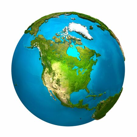 to the north: Planet Earth - North America - colorful globe with detailed and realistic surface, 3d render