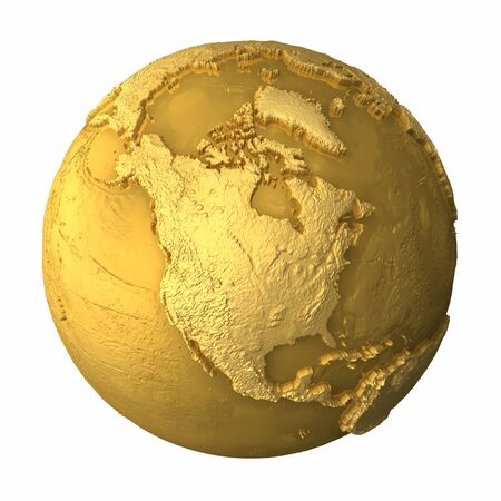 north america: Gold globe - metal earth with realistic topography - north america, 3d render