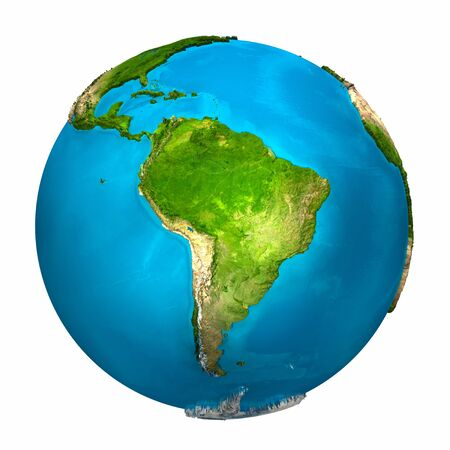 Planet Earth - South America - colorful globe with detailed and realistic surface, 3d render Stock Photo