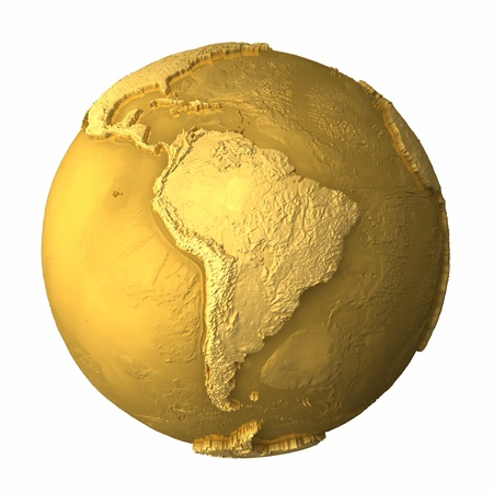 Gold globe - metal earth with realistic topography - south america; 3d render