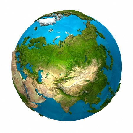Planet Earth - Asia - colorful globe with detailed and realistic surface, 3d render