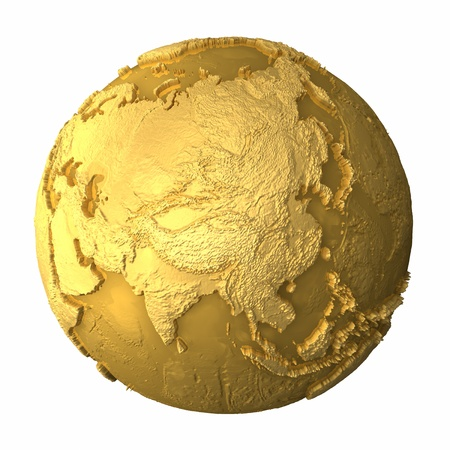 asia globe: Gold globe - metal earth with realistic topography - asia, 3d render