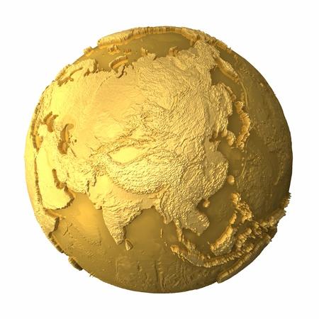 Gold Globe - Metall Erde mit realistischen Topografie - Asien, 3d render Standard-Bild