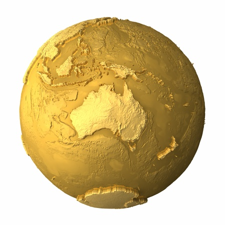 Gold globe - metal earth with realistic topography - australia, 3d render photo