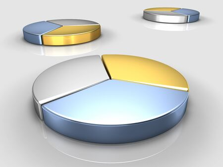Metallic color pie charts, a large one in front, reflective floor photo