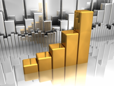 Gold chart in foreground and silver charts in background Stock Photo