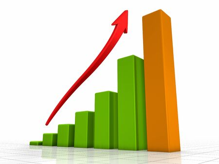 growth in economy: Growth chart, green bars - the highest one is orange, red arrow pointing upwards
