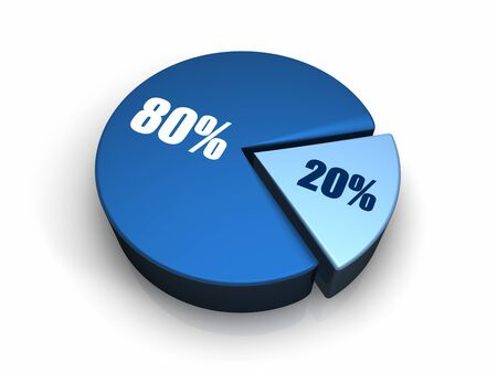 percentage sign: Blue pie chart with twenty and eighty percent, 3d render