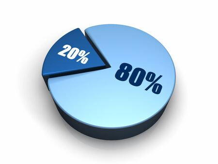 percentage sign: Blue pie chart with eighty and twenty percent, 3d render Stock Photo