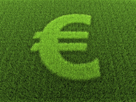 Grass in the shape of the euro sign, 3D rendering Stock Photo - 8557281