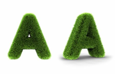 Grass letter a, isolated on white background photo