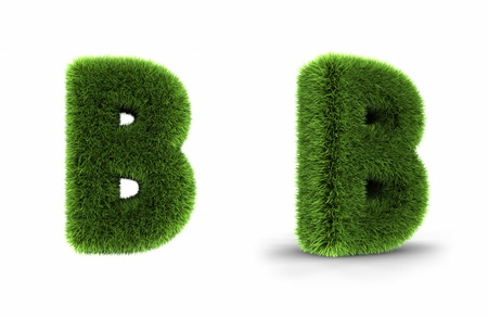 Grass letter b, isolated on white background