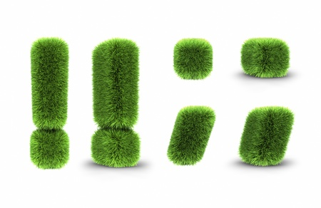 Grass interjection, dot and comma, isolated on white background Stock Photo - 8559126