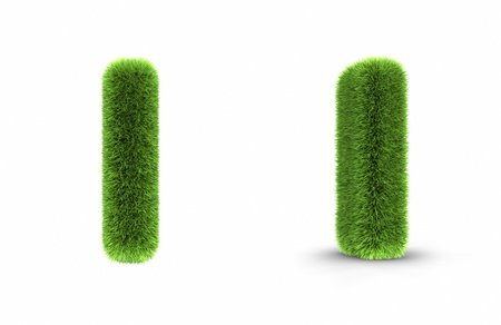 Grass letter i, isolated on white background