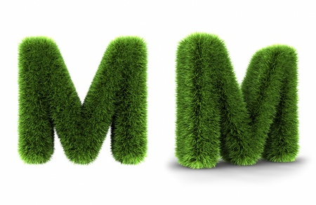 uppercase: Grass letter m, isolated on white background
