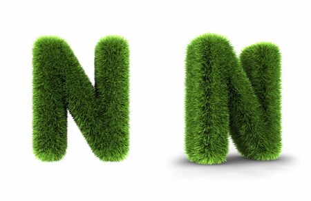 Grass letter n, isolated on white background Stock Photo - 8552975