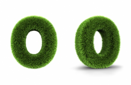 grass font: Grass letter o, isolated on white background Stock Photo