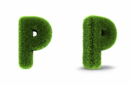 Grass letter p, isolated on white background