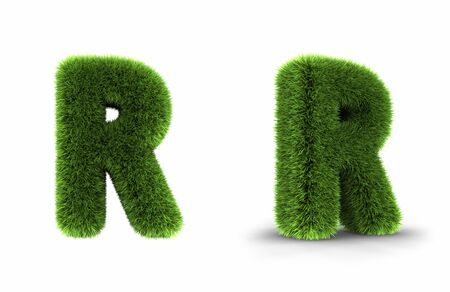 grass font: Grass letter r, isolated on white background