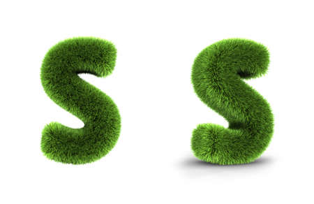 Grass letter s, isolated on white background Stock Photo
