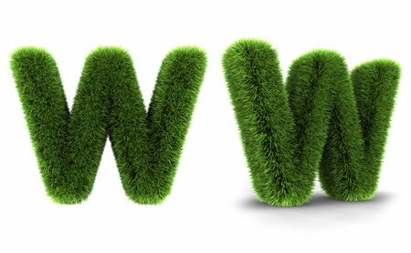 Grass letter w, isolated on white background photo