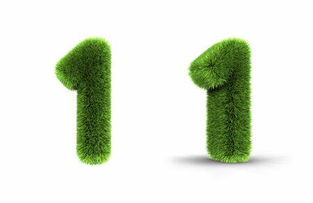 numero uno: N�mero uno, aislado en fondo blanco, 1 de hierba