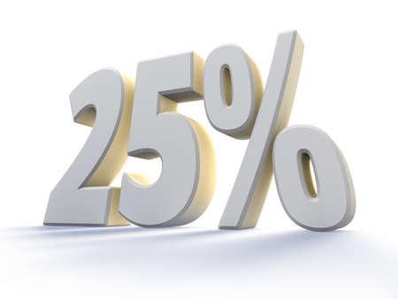 twenty five: Veinticinco por ciento, gran n�mero de blanco con retroiluminado, aislado en fondo blanco. 25 %