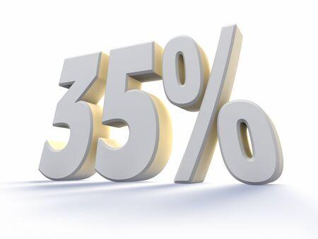 thirty five: Trentacinque per cento, gran numero bianco con retroilluminazione, isolato su sfondo bianco. 35 % Archivio Fotografico