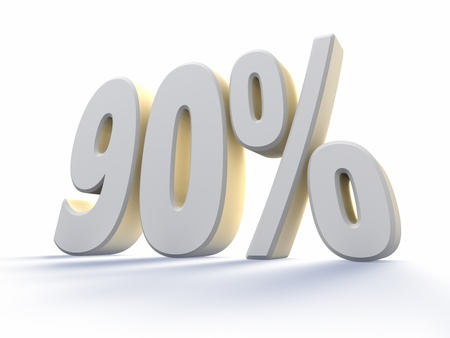 90: Ninety percent, large white number with backlit, isolated on white background. 90%