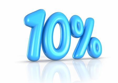 number ten: Balloon ten percent, isolated on white background. 10% Stock Photo