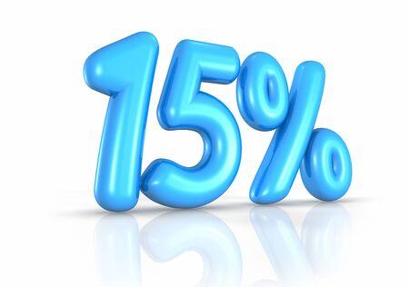 fifteen: Balloon fifteen percent, isolated on white background. 15% Stock Photo